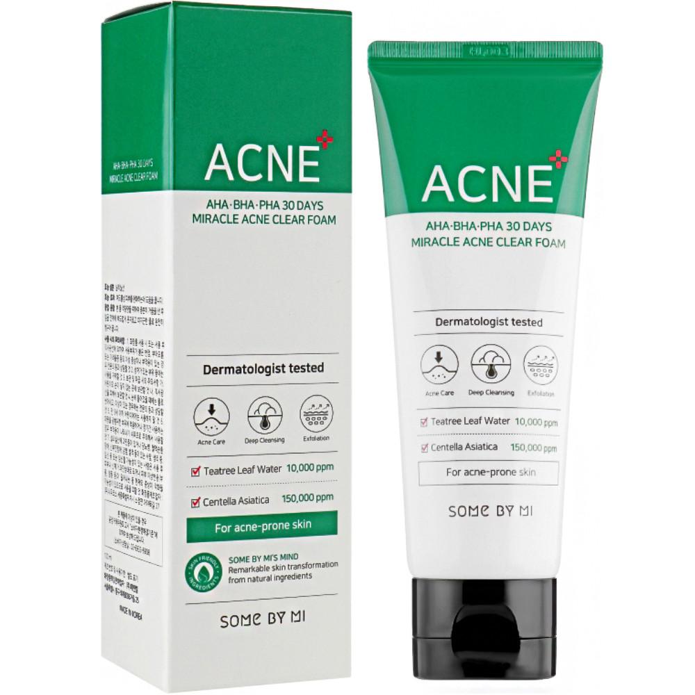 Очищающая пенка для жирной и проблемной кожи Some By Mi AHA-BHA-PHA 30 Days Miracle Acne Clear Foam 100 мл (8809647390091)