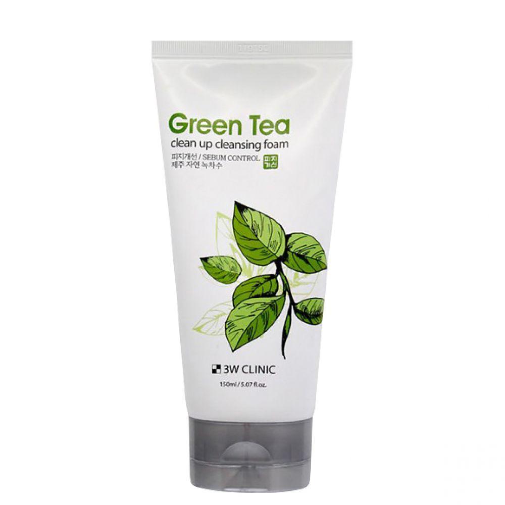 Увлажняющая пенка для умывания с экстрактом зелёного чая 3W Clinic Green Tea Clean Up Cleansing Foam 150 мл (8809563063383)