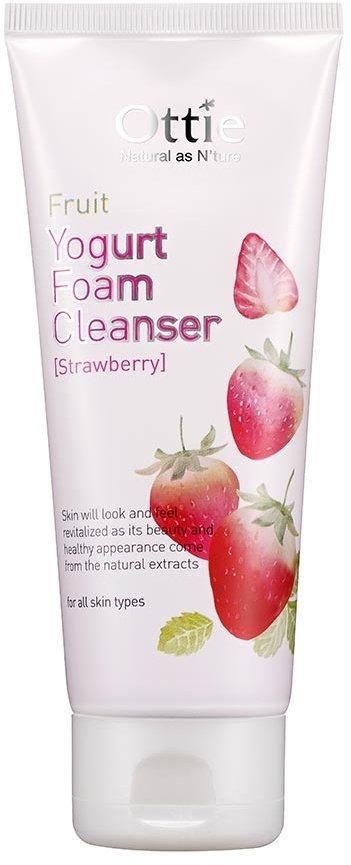 Очищающая пенка для умывания с клубничным йогуртом Ottie Fruit Yogurt Foam Cleanser Strawberry 150 мл (8809276011985)