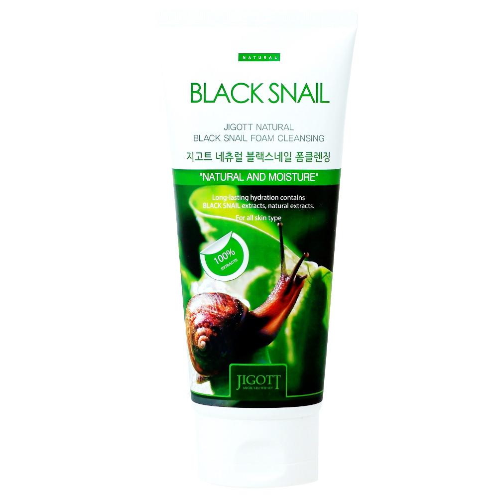 Пенка для умывания с муцином улитки Jigott Natural Black Snail Foam Cleansing 180 мл (8809317111087)