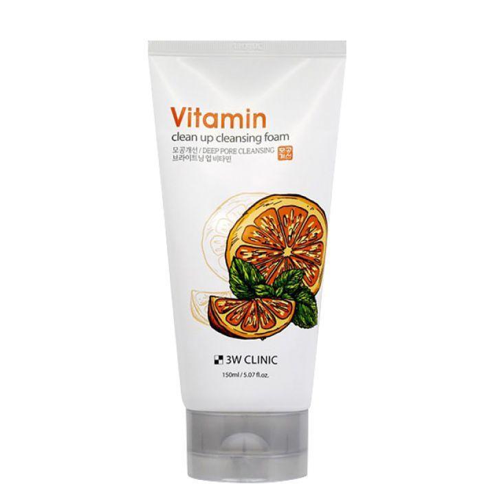 Освежающая витаминная пенка для умывания 3W Clinic Vitamin Clean Up Cleansing Foam 150 мл (8809563063369)