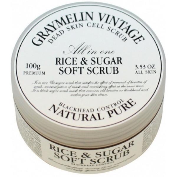 Мягкий скраб для лица с черным сахаром и рисом Graymelin Rice & Sugar Soft Scrub 100 мл (8809321488878)