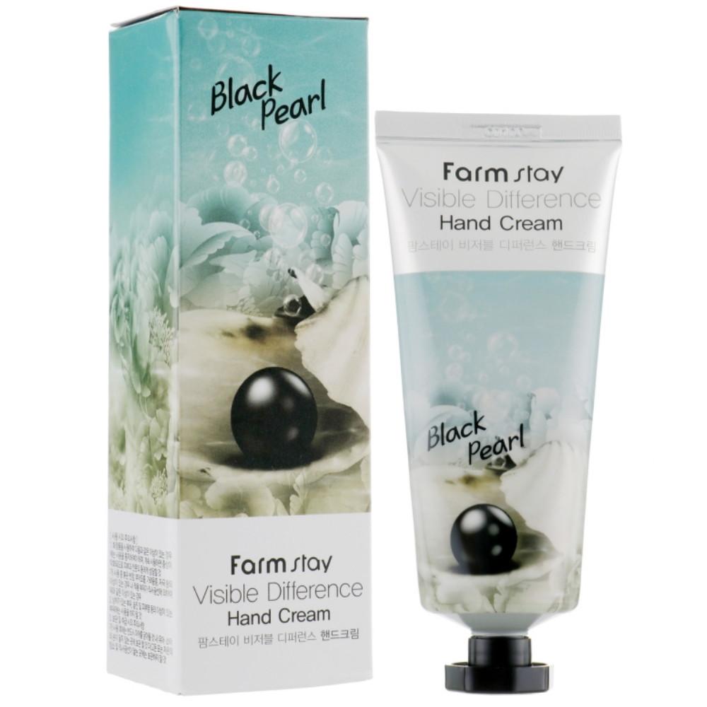 Крем для рук с экстрактом чёрного жемчуга Farmstay Visible Difference Hand Cream Black Pearl 100 мл (8809540510039)