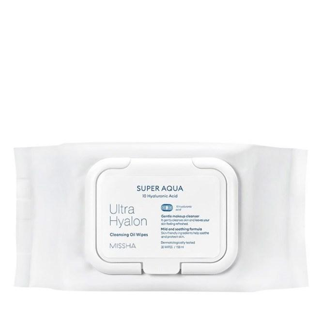 Очищающие салфетки для лица с маслами и гиалуроновой кислотой Missha Super Aqua Ultra Hyaluronic Cleansing Oil (8809643507264)