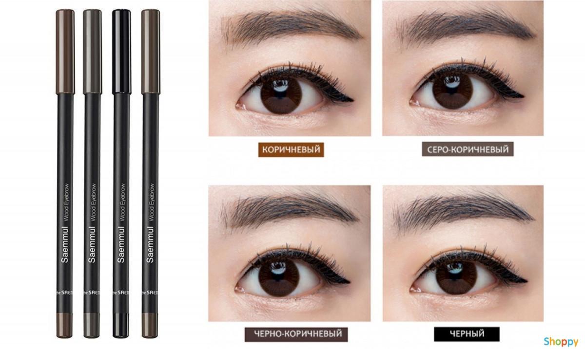 Карандаш для бровей The Saem Saemmul Wood Eyebrow 03.Black Brown 0,2 г (8806164136690)