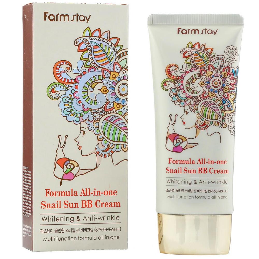 ББ-крем для лица с экстрактом улитки Farmstay Formula All-In-One Snail Sun BB Cream SPF50+ 50 г (8809297384303)
