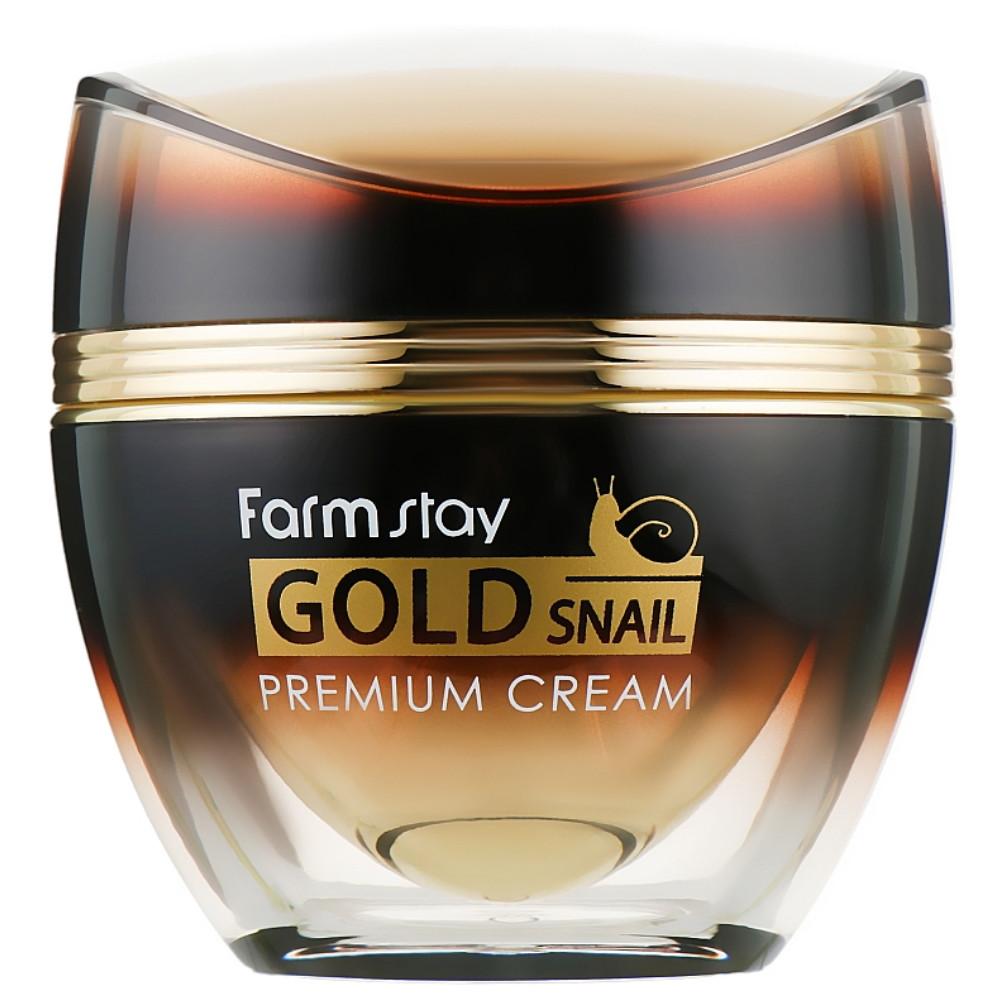 Омолаживающий крем для лица с золотом и муцином улитки Farmstay Gold Snail Premium Cream 50 мл (8809480770975)