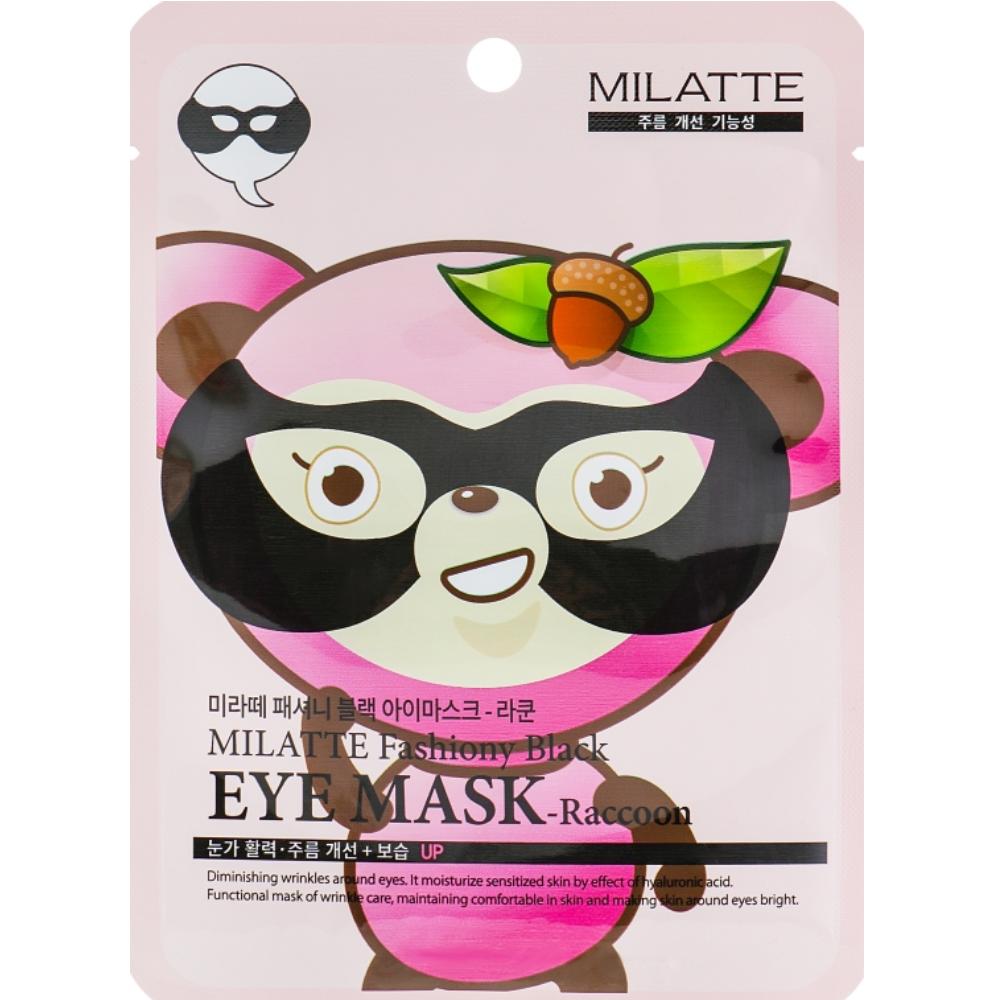 Питательная маска от морщин для кожи вокруг глаз с муцином улитки Milatte Fashiony Black Eye Mask Raccoon 10 мл (8809535260208)