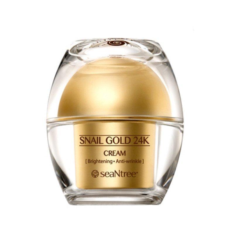 Омолаживающий крем для лица с золотом и улиточным фильтратом SeaNtree Snail Gold 24K Cream 50 г (8809476692458)