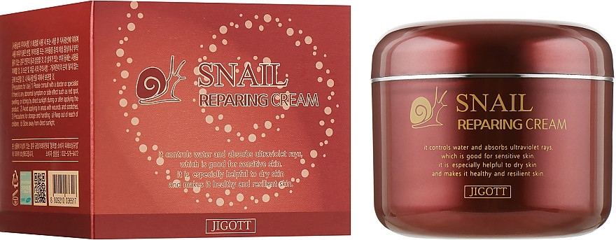 Восстанавливающий крем для лица с муцином улитки Jigott Snail Repairing Cream 100 мл (8809210036517)