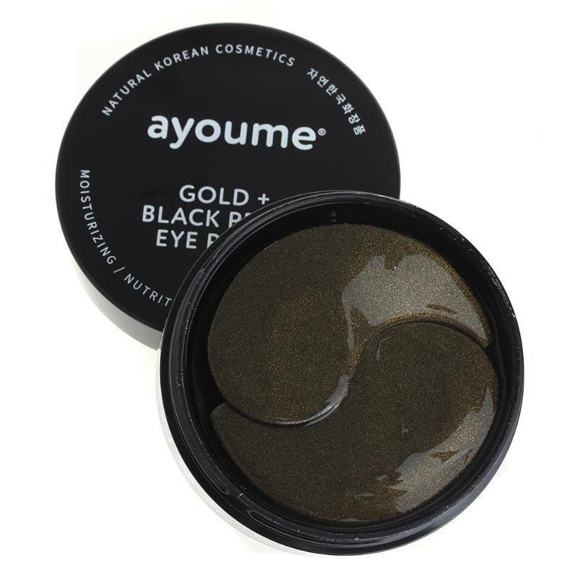 Патчи для глаз с золотом и черным жемчугом Ayoume Gold+Black Pearl Eye Patch 60 шт (8809239804128)