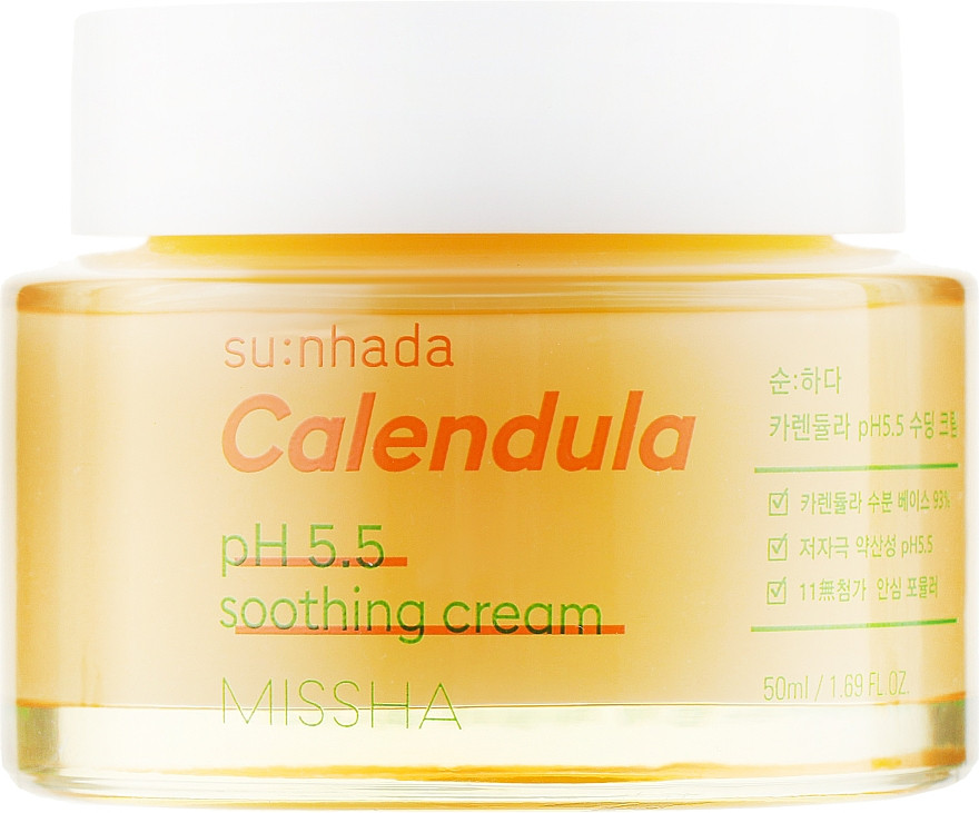 Успокаивающий крем для лица с экстрактом календулы Missha Su:Nhada Calendula pH 5.5 Soothing Cream 50 мл (8809643525343)