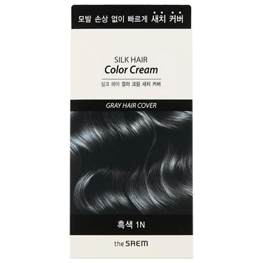 Крем-краска для волос The Saem Silk Hair Color Cream Gray Hair Cover Black 60 мл + 60 мл (8806164149881)